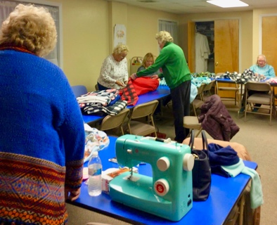 Outreach: making lap-blankets …